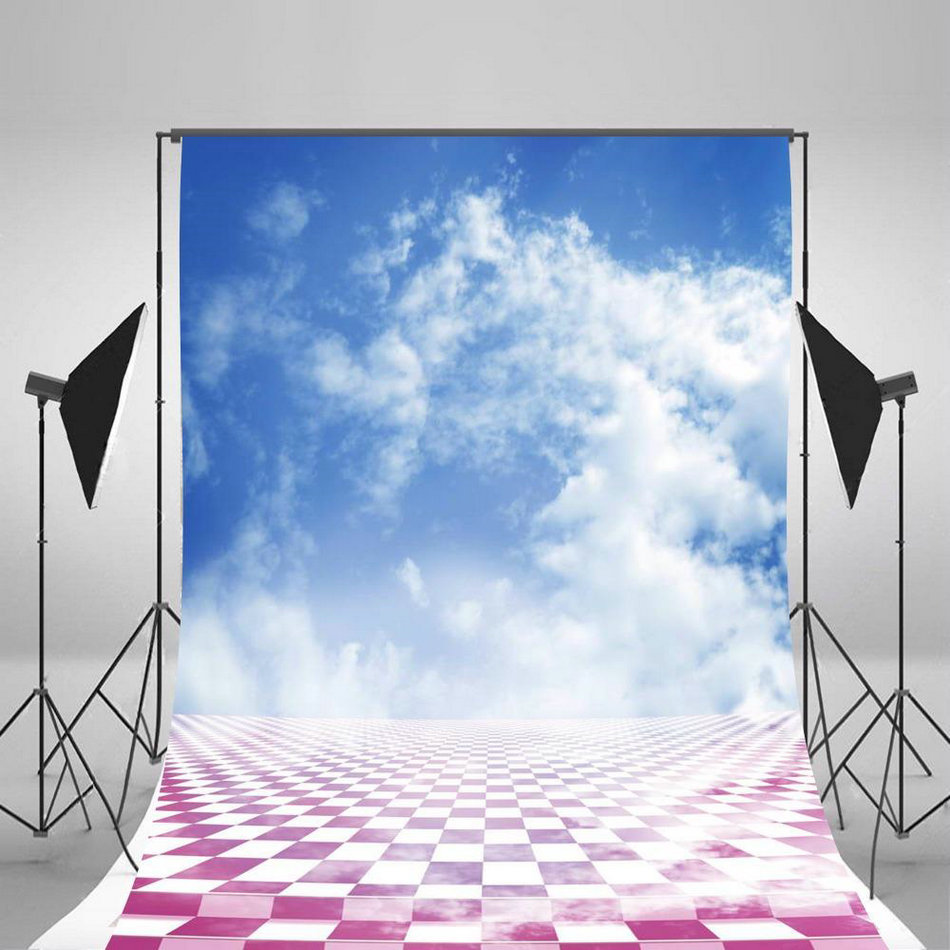 blue sky white clouds purple lattice Backgrounds Vinyl cloth High quality Computer print wall backdrop