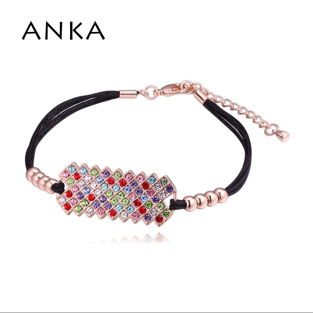 ANKA elegant Bohemia crystal rope bracelets for women fashion charm red or black cotton rope bracelet rose gold color #129469