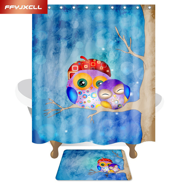 Cartoon Owl Child Polyester Fabric Waterproof Mildew Shower Curtain  Eco Friendly Bathroom Curtain 150x180cm