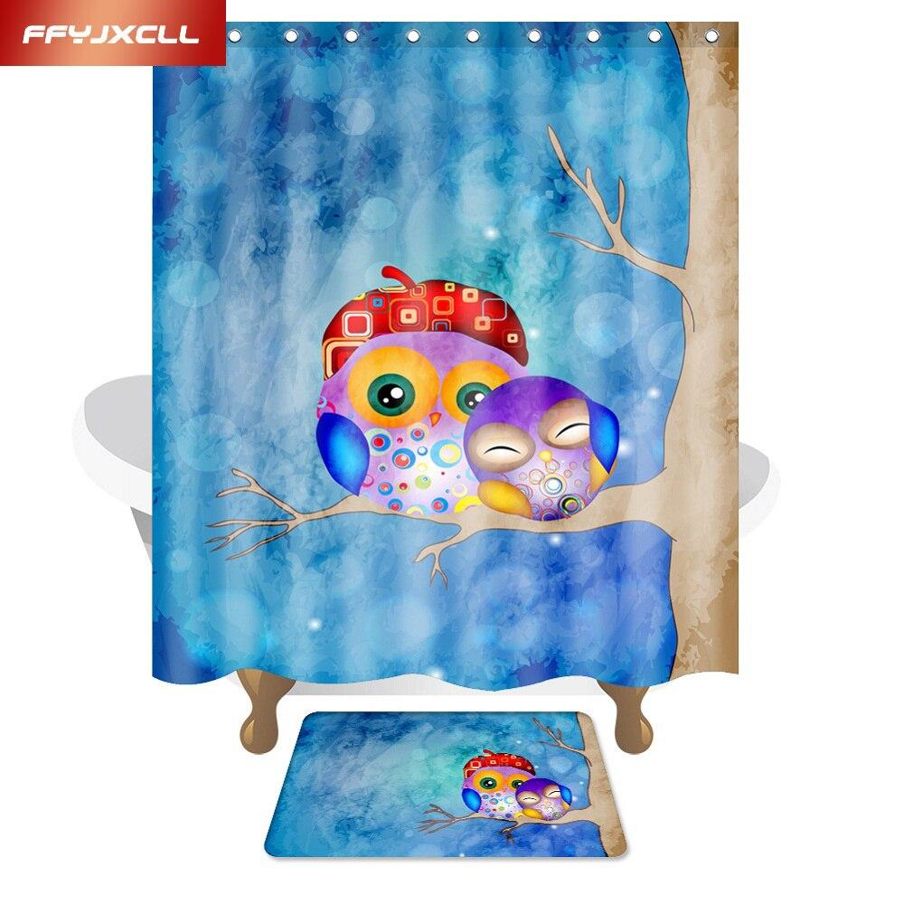 Cartoon Owl Child Polyester Fabric Waterproof Mildew Shower Curtain Eco-Friendly Bathroom Curtain 150x180cm