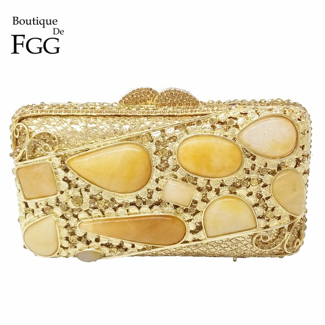 Golden Stones Women Evening Clutch Bags Brand Hollow Out Diamond Crystal Bridal Wedding Handbags Metal Clutches Shoulder Purse