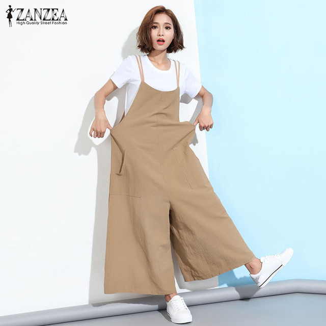 2ebd0e525c2 ZANZEA Rompers Womens Jumpsuit 2018 Summer Sleeveless Overalls Casual Loose  Playsuits Solid Wide Leg Pants Trousers Plus Size