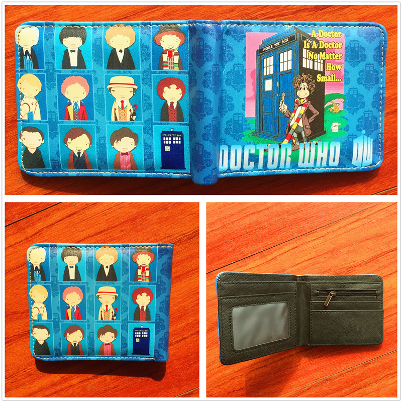 Doctor Who Wallets High Quality Tardis Police Box Printing Purse Short Teenager Men Womens Leather Wallet Card Money Bag W570