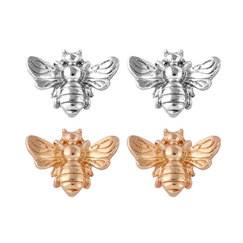 Vendita calda 1 Coppia Carino Piccolo Ape Orecchino Dei Monili In Oro Rosa/Argento Placcato Honey Bee Orecchini Della Vite Prigioniera Degli Orecchini Unici gioielli Delle Donne