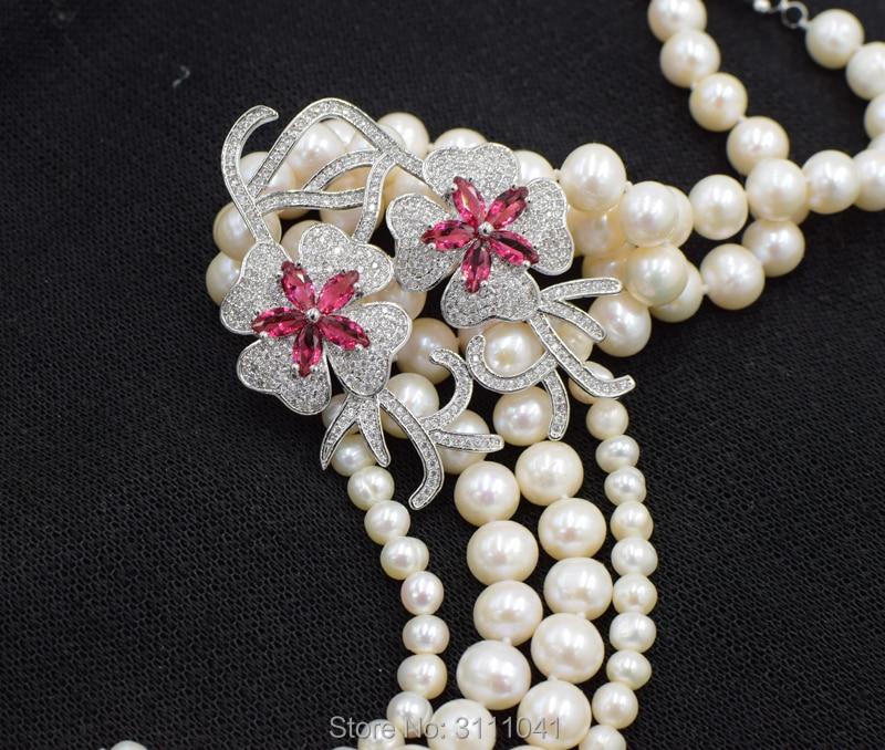 Perle d'eau douce près ronde 5-6mm 7-8mm + rouge fleur pendentif collier 25 pouces FPPJ en gros perles nature