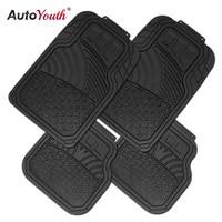 AUTOYOUTH Rubber Car Floor Mats Universal Fit Driver Passenger Seat Ridged Heavy Duty Rubber Floor Car