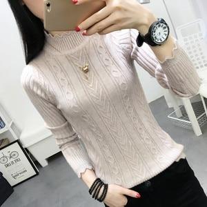Image 3 - Koreanischen winter pullover weibliche hälfte rollkragen hülse kopf bodenbildung Shirt Kurzen schlanken schlank knit verdickte feste twist