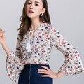 Túnica de las mujeres blusas 2017 primavera impresión tops clothing flare manga cuello en v para mujer de boho top blusa de la gasa blanco negro