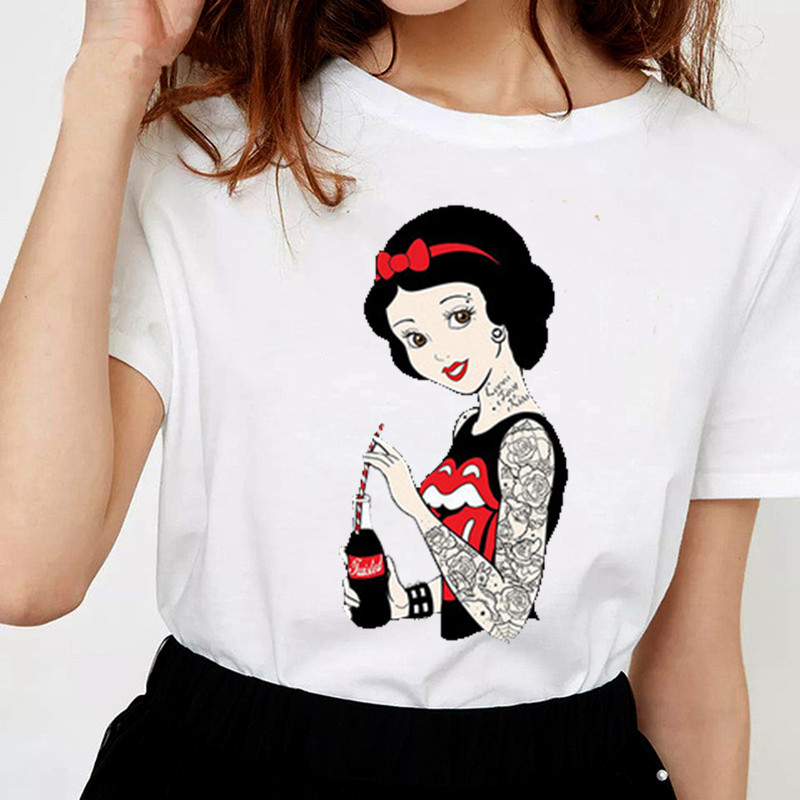 Women's Vintage Funny Bad Girl Snow White   T     Shirt   O-Neck Dark Story Print Casual Short Sleeve Harajuku Women's   T  -  Shirt
