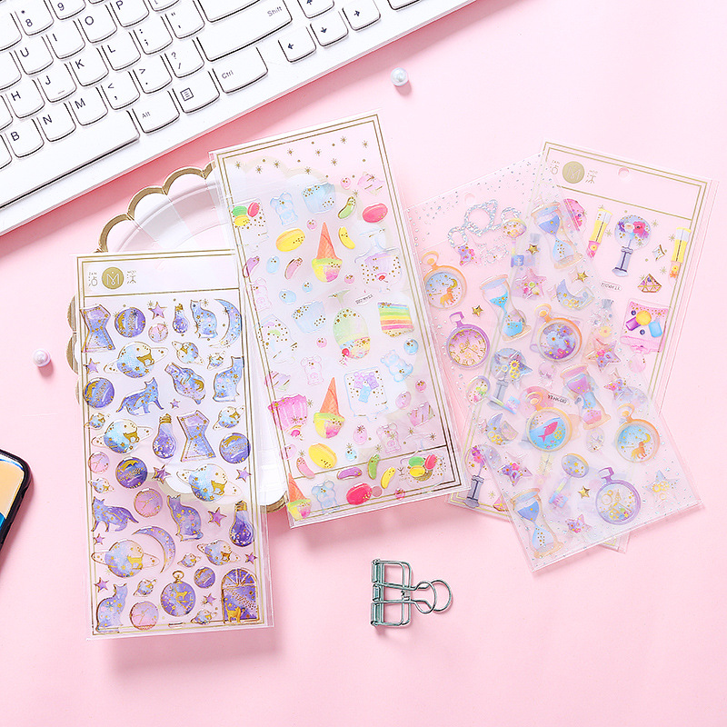 DIY Gold Foil Lonely Planet love flower Sticker Decorative  Stickers Scrapbooking Diary Album Stick Lable