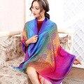 Inverno Cachecol de Lã de Moda Espanha Cachecol Mulheres Rainbow Grosso Cachecóis Xale para As Mulheres 2015 algodão Grande manto xale de presente de Natal