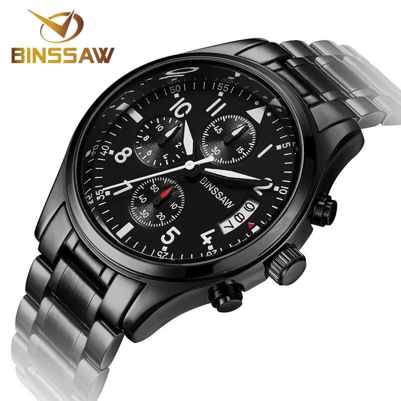 BINSSAW Men Stainless Steel Quartz font b Watches b font Fashion Business Calendar Sapphire font b