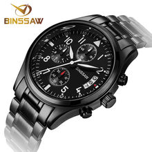 BINSSAW Men Stainless Steel Quartz Watches Fashion Business Calendar Sapphire Military Luxury Brand Watches relogio masculino
