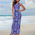 Preself vestidos sexy bodycon impresión digital sin mangas del partido maxi dress vestidos boho bohemia playa de verano vestido de tirantes chaleco de colores