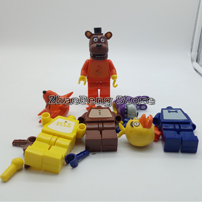 4pcs/lot 4-5inch Five Night At Freddy's Building Blocks juguetes Figures Foxy Freddy Chica Action Figures brinquedos kids toys 12pcs set children kids toys gift mini figures toys little pet animal cat dog lps action figures