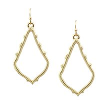 ZWPON 2018 Gold Filled Brand KS Chandelier Earrings Alloy Cutout Fashion Hollow Teardrop Earrings for Women Statement Earrings