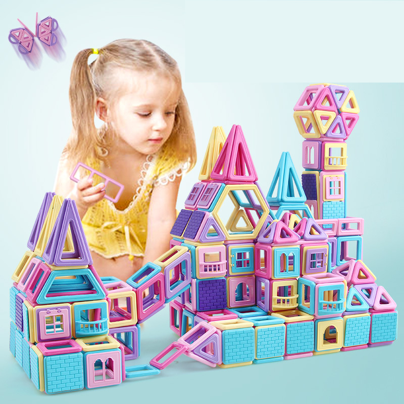 258pcs Pink Block Magnetic Designer Building Set Model And Construction Toy Plastic Magnetic Block Educational Toy For Kids