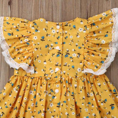 الوليد طفلة الدانتيل المرقعة 2019 ملابس الصيف الجديدة زهرة توتو فستان الشمس مجموعة عصابات رأس Hot البيع