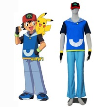 Pokemon Costume Pocket Monster Advanced Generation Ash Ketchum Cosplay Costume Hoodie Sweater with Cap Halloween Costume for Men