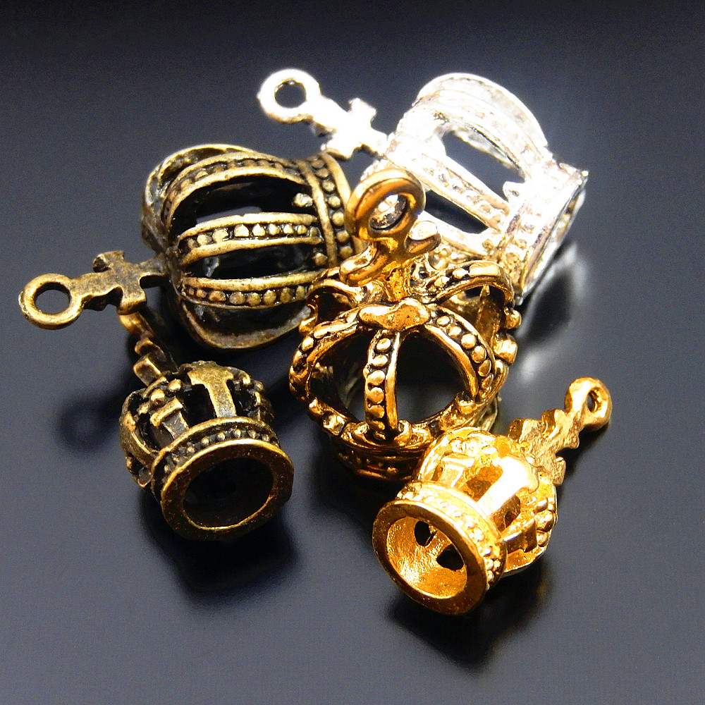 20pc/lot Mixed Color Vintage Style Crown Necklace Pendant 23*7mm Man Women Bracelet Charms Handmade Gifts Jewelry Fine GR-734(China)