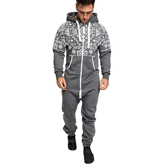 c4d8235caa87 Casual Tracksuit Jumpsuit Mens Overalls Long Sleeve Sweatshirt Hoodies  Casual Long Pants Romper For Male Overalls