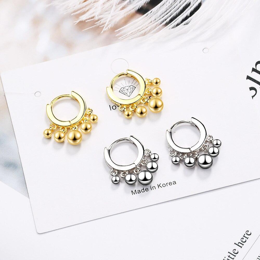 New Gold drop Earring 925 sterling silver Beads Earing For Women popular Korea Jewelry 2019 pendientes