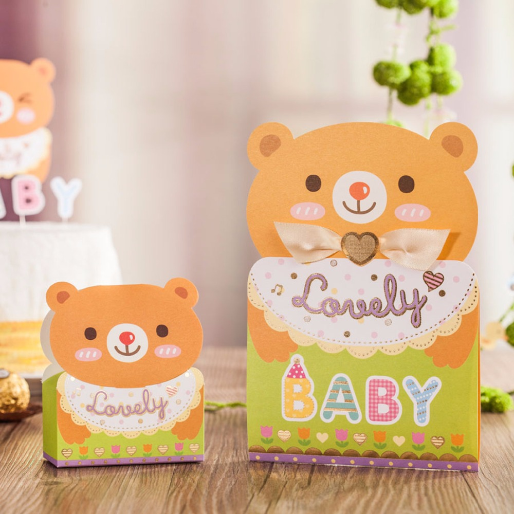 New Lovely Baby Christening Invitations Cards with Cut Bear ...