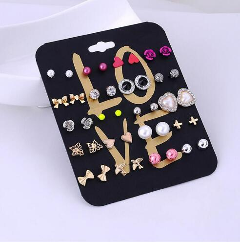 Claire Fashion Women Accessories Stud Earring Set Stars Cross Rose Flower Love Heart Pearl Wholesale Earrings Mix Lot 20 Pairs