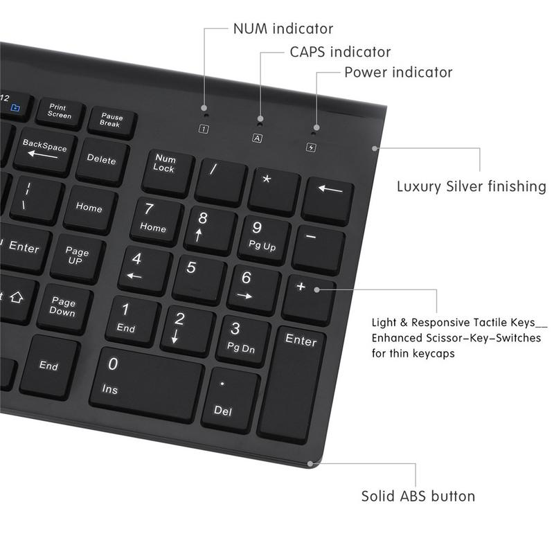 US $27 61 |Ultra thin Mute 2 4G Wireless Mouse Full size With Digital  Wireless Keyboard Kit Compact Wireless Keyboard and Mouse Combo-in Keyboard