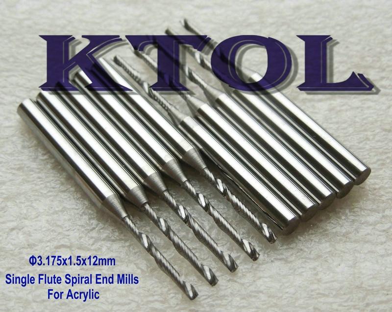A Level Single Blade Aluminium cutting single flute CNC router bits 3.175*12mm