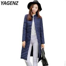 YAGENZ зимняя новая женская куртка, Корейская однотонная тонкая парка, длинное пальто, зимнее теплое хлопковое пуховое Женское пальто, повседневные топы 3XL