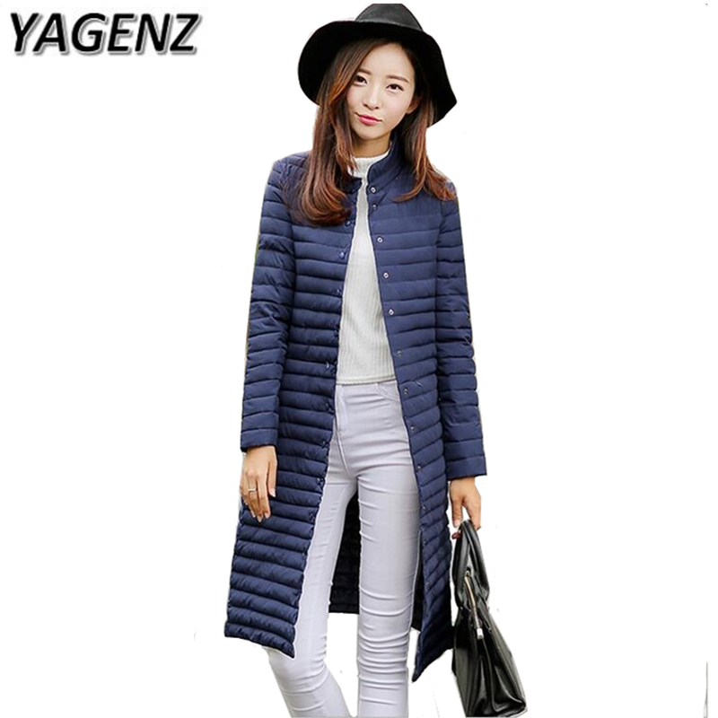 YAGENZ 2017 Winter New Women Jacket Korea Solid Slim   Parkas   Long Coat Winter Warm Cotton Down Female Jacket Casual Tops 3XL