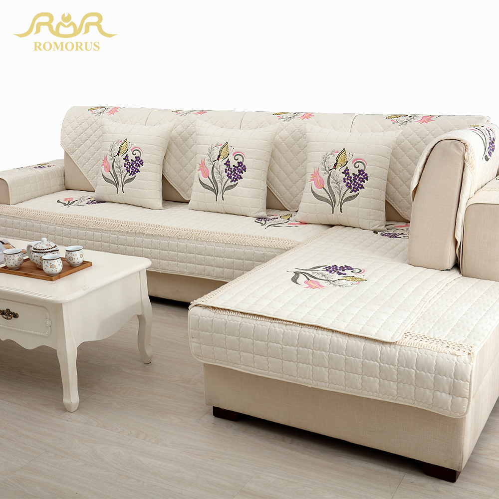 Quality Sofa Covers Us 11 61 30 Off 1 Piece High Quality Embroidered 100 Cotton Sofa Cover Sectional Sofa Slipcovers Non Slip Single Loveseat 3 Seater Couch Covers In