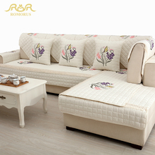 High Quality Embroidered Quilted Sofa Covers 1 Piece Sectional Sofa  Slipcover Non Slip Twill