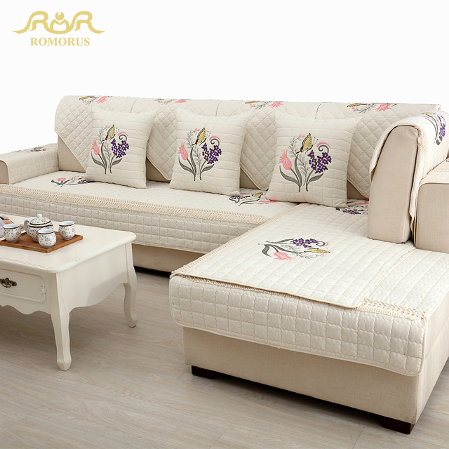 High Quality Embroidered Quilted Sofa Covers 1 Piece Sectional Sofa