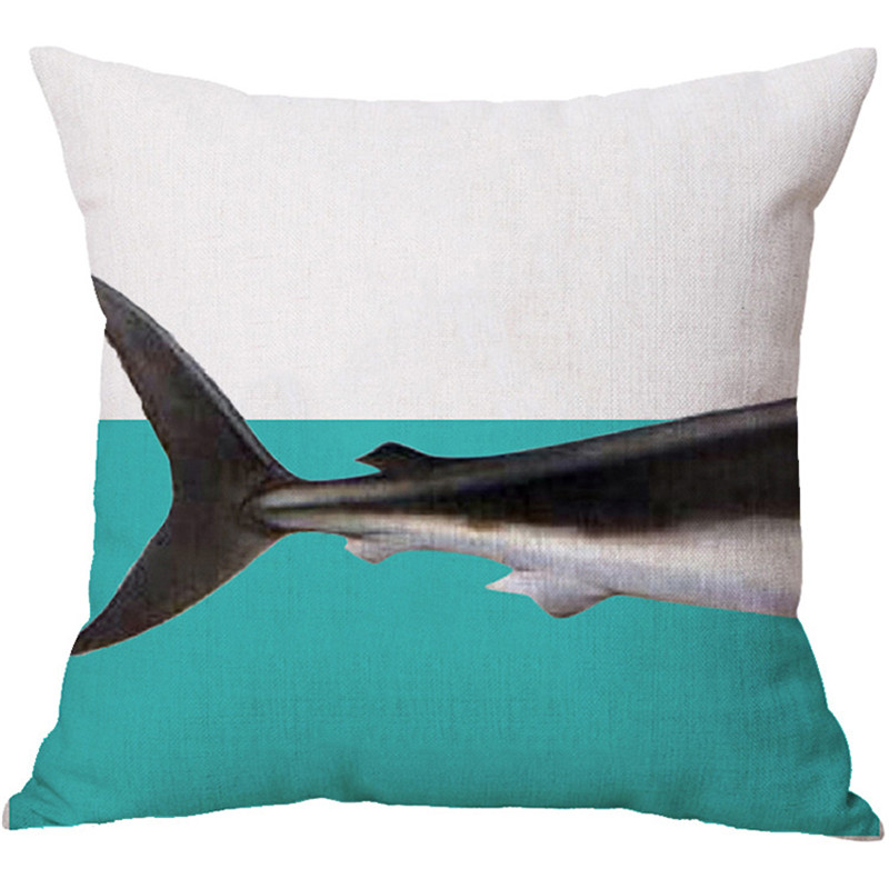 Aliexpress.com : Buy 2017 Hot Animal Cushion Covers Navy Blue  Linenu0026Polyester Pillow Cover Shark Pattern Patio Seat Cushion Cover 18*18in  Home Decor From ...