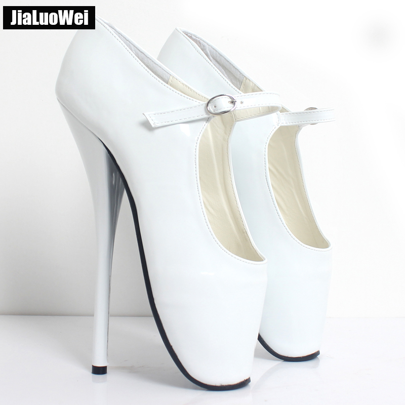Jialuowei NEW 8 High Heel Sexy simple Ballet Heels Pumps Shoes Pointed Toe Ankle Buckle Straps Ballet Dancer Shoes princess poppy ballet shoes