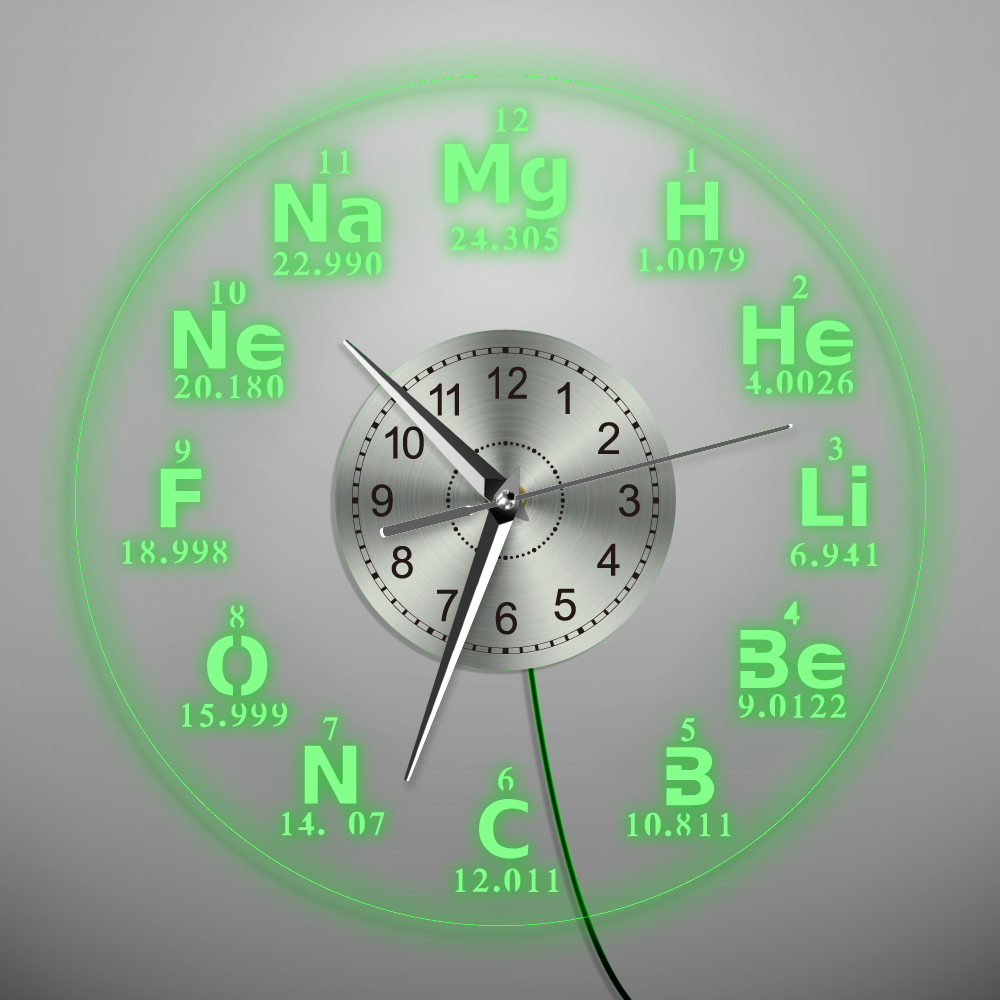 1Piece Chemical Element Periodic Wall Art Decorative Acrylic Wall Clock Home Decor Silhouette Watch Gift For Teacher Student