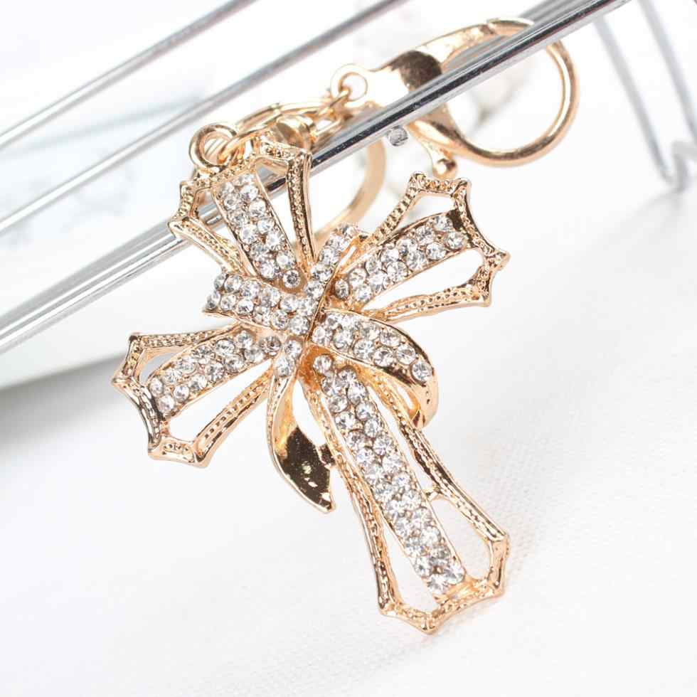 Nieuwe Aankomen Cross Bloemen Crystal Rhinestone Charm Hanger Purse Bag Auto Sleutelhanger Ketting Creative Wedding Party Gift