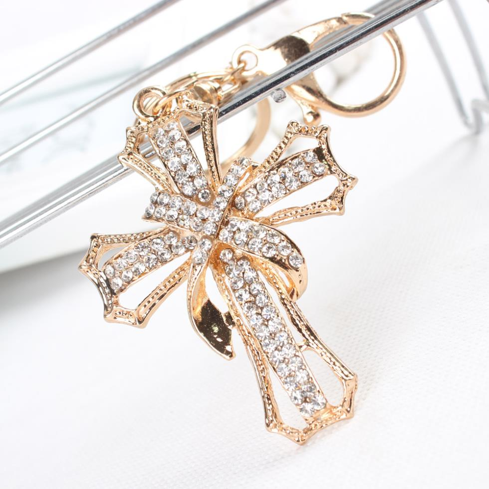 New Arrive Cross Flowers Crystal Rhinestone Charm Pendant Purse Bag Car Key Ring Chain Creative Wedding Party Gift