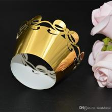 METABLE 120pcs/lot Reflective Paper Packing Wedding Cake Biscuit Wrapper Laser Cut Bowknot Shape Surrounding Edge wc570