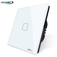 Cnskou EU Touch Switch White Crystal Glass Panel 1 Gang 1 Way Wall Light Touch Screen Switch EU Touch Switch