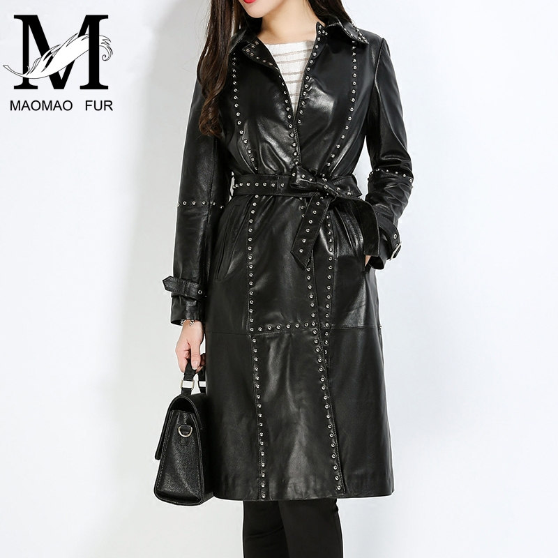 Lady Genuine Leather Trench Coat Women Real Sheep Leather Long Coat Female Sheepskin Jacket