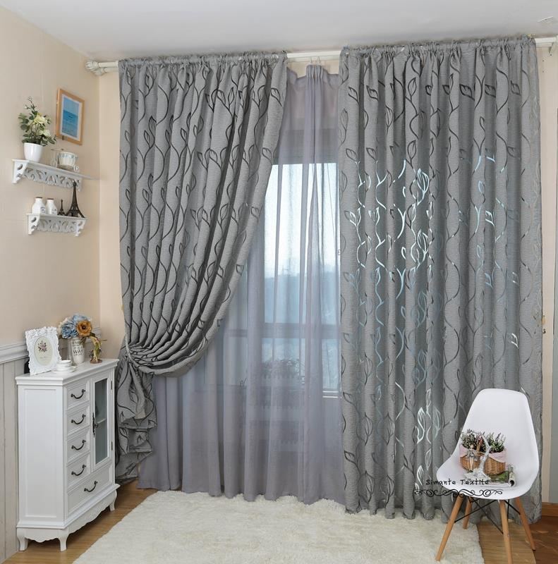 grey curtains living room leaf style design jacquard curtain blind for window living 16232