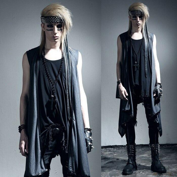 Men Shawl Vest Punk Rock Gothic Style Cardigan Jacket Waistcoat Nightclub Clothing Male Fashion Long Loose Coat In Vests Waistcoats From Mens