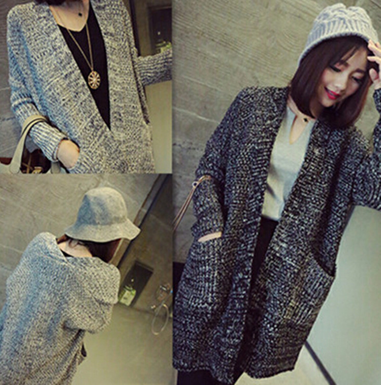 2015 lady wool sweater Fashion medium long cashmere cardigan women loose sweater for female outerwear coat with pockets