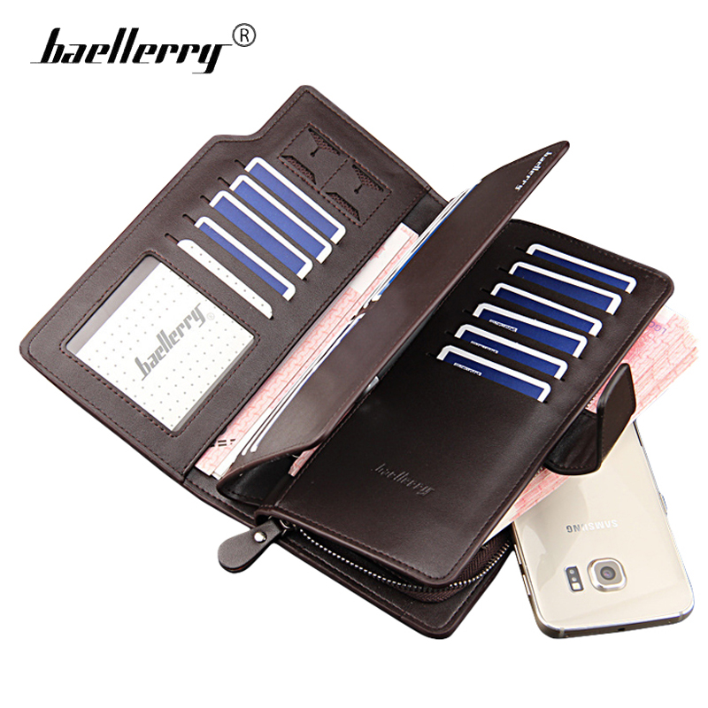 Baellerry Large Men Wallets Brand Purse Zipper Hasp Long Mens Wallets Leather Male Clutch Phone Bag Cards Holder Wallet Purse cossroll brand women wallets genuine leather long thin purse clutches bags cards holder zipper phone pocket lady party wallet