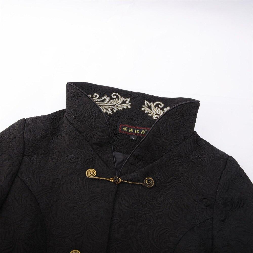 Noir Veste Shanghai Longue Broder Style Femme Chinois Coton AR5q3jL4