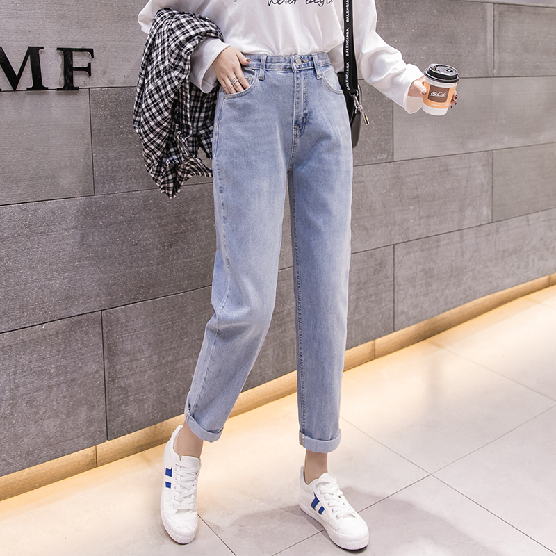 2019 new fashion for Female simple Korean version of the loose ladies was thin wild high waist straight old casual   jeans   women