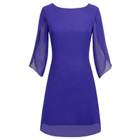 Short Formal Solid Cocktail Party Women Dress Ladies Double layer Casual Plus size Chiffon Scoop neck V back Fashion